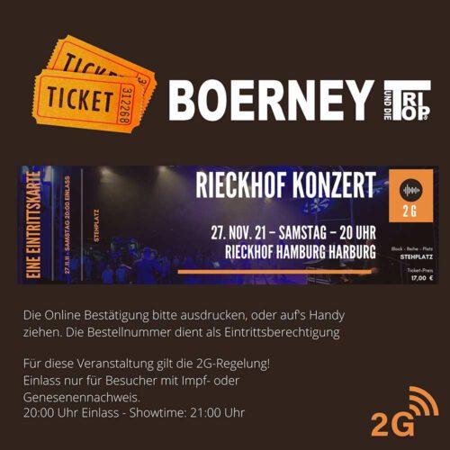 Eintrittskarte für das Rieckhofkonzert am 27.11.2021